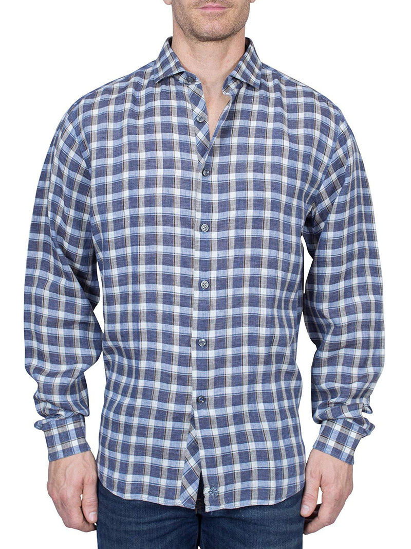 Thaddeus FRANKLIN Mens Linen Long Sleeve Plaid Button Down Shirt with Cutaway Collar, Denim Blue/White/Gray