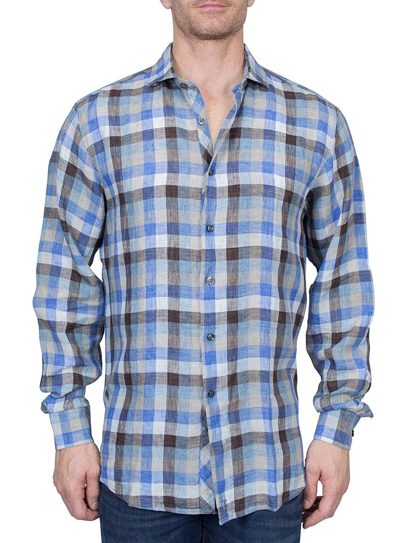 Thaddeus FRANKLIN Mens Linen Long Sleeve Plaid Button Down Shirt with Cutaway Collar, Denim Blue and Tan