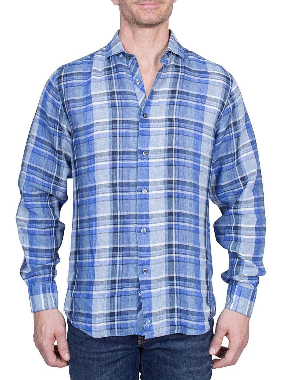 Thaddeus FRANKLIN Mens Linen Long Sleeve Plaid Button Down Shirt with Cutaway Collar, Denim Blues