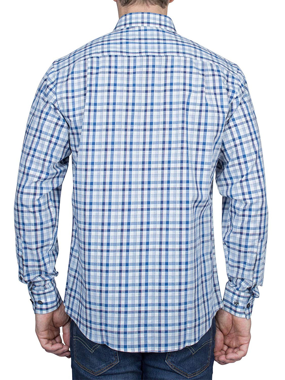 Thaddeus FRANKLIN Mens Long Sleeve Plaid Cotton Linen Blend Button Down Shirt, Navy and Blues