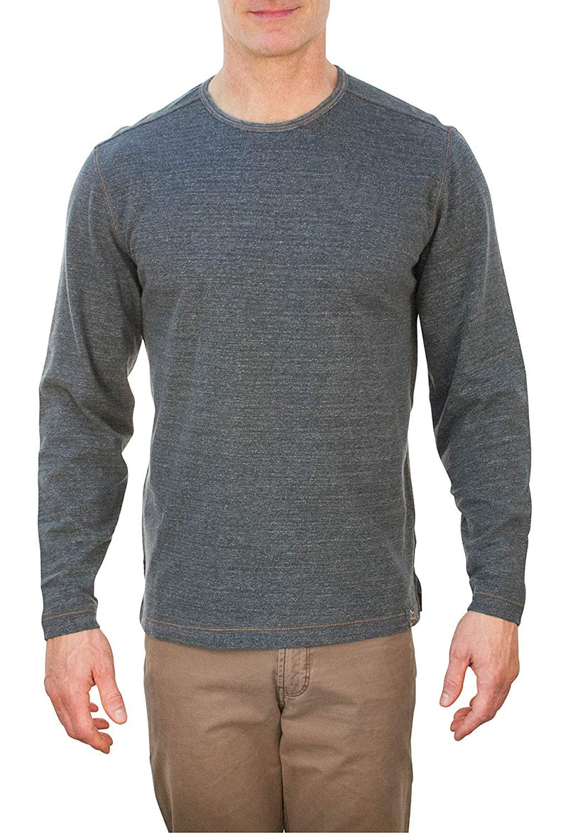 Thaddeus HELMUT Mens Long Sleeve Heather Plated Cotton Crew Neck Shirt