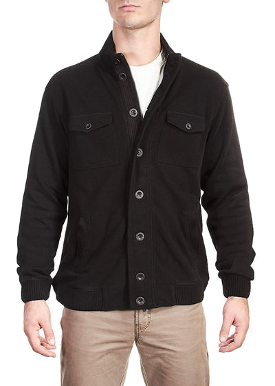 Thaddeus KENNEDY Mens Snap and Zip Front Cardigan Jacket