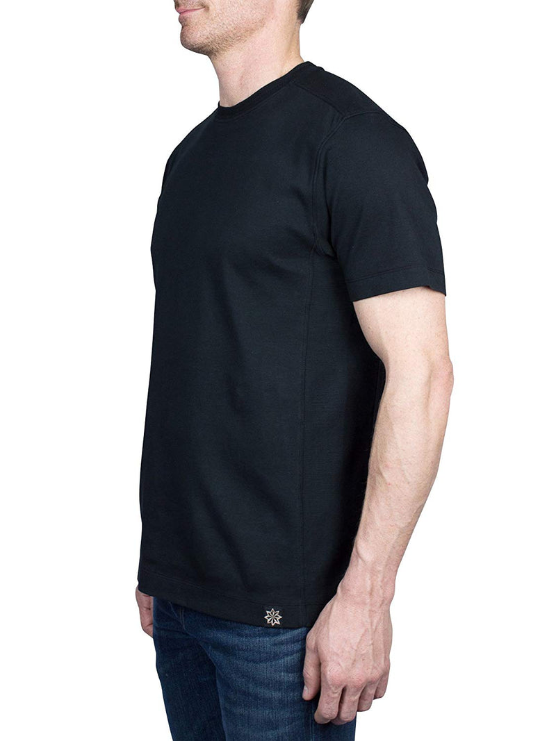 Thaddeus KIRSH Men's Short Sleeve All Cotton Interlock Crew Neck Tee Shirt