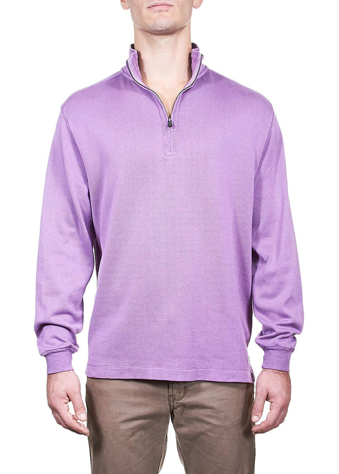 Thaddeus LANGSTON Mens L/S 100% Cotton Sweater Knit Mixed Media 1/4 Zip
