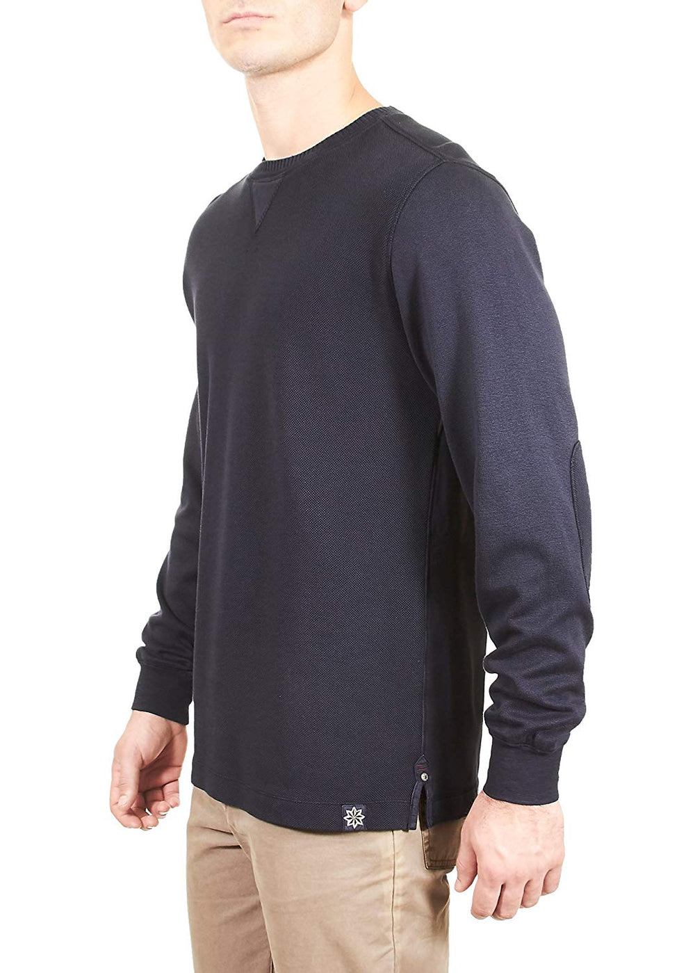 Thaddeus MARK Mens LS Mixed Media Crew Neck