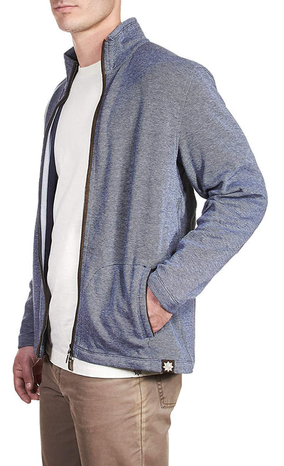 Thaddeus MICAH Mens LS 95% Cotton 5% Spandex Bird's Eye Zip Cardigan