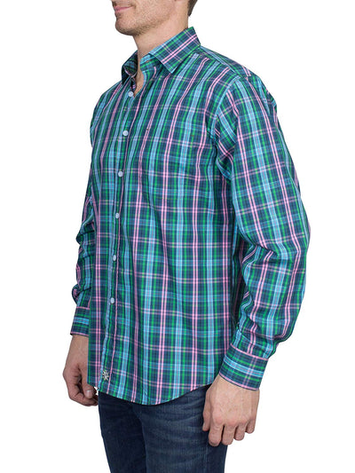 Thaddeus PARK Mens Long Sleeve Plaid Button Down Cotton Shirt with Chest Pocket, Blue/Pink/Green