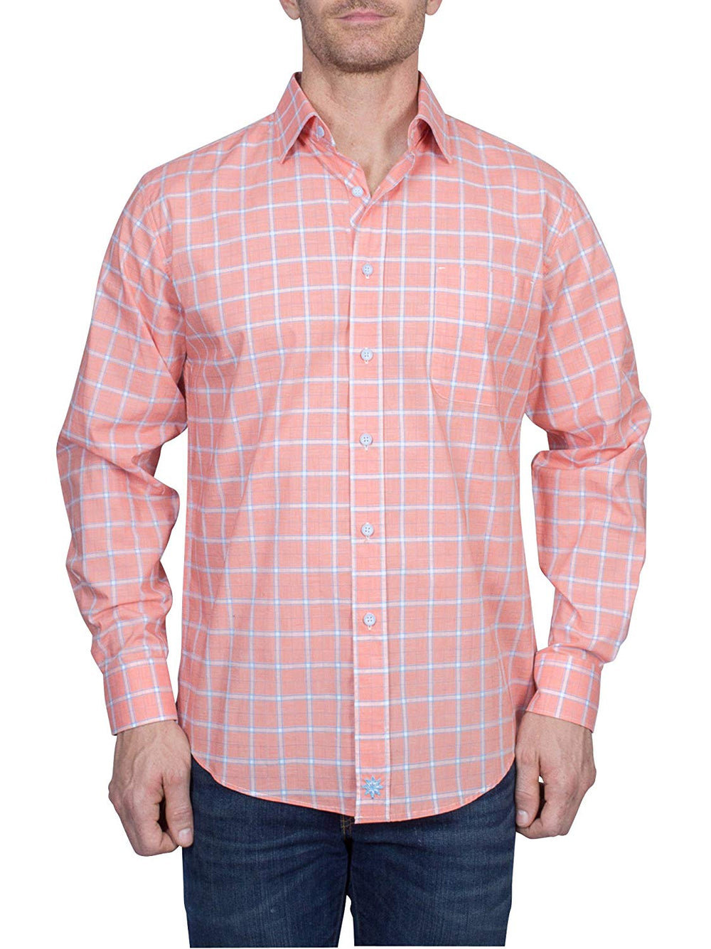 Thaddeus PARK Mens Long Sleeve Plaid Button Down Cotton Shirt with Chest Pocket, Melon Orange
