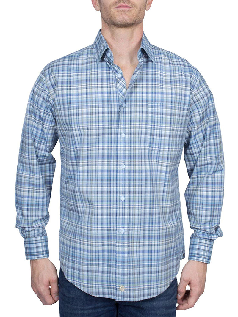 Thaddeus PARK Mens Long Sleeve Plaid Button Down Cotton Shirt with Chest Pocket, Sky Blue/Navy