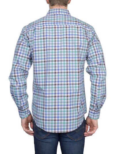 Thaddeus PARK Mens Long Sleeve Plaid Button Down Cotton Shirt with Chest Pocket, Sleet