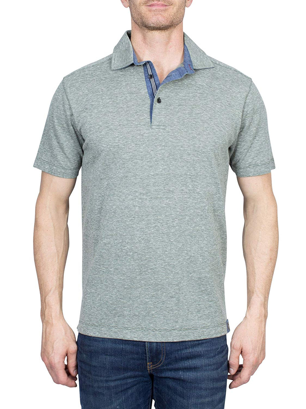 Thaddeus TYLER Men's Short Sleeve Heathered Cotton Blend Polo Shirt