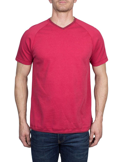 Thaddeus VANN Men's 100% Cotton Raglan Short Sleeve V-Neck Tee Shirt