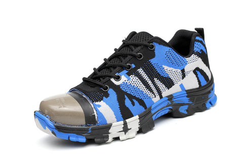 Blue Camouflaged Soldier Shoes highlighting steel toe