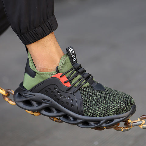 Person resting green Scout shoe on rusted chain 480 x 480