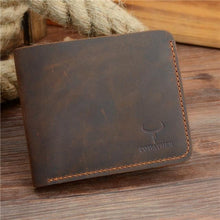 Genuine Leather Thin Wallet Coffee Cross