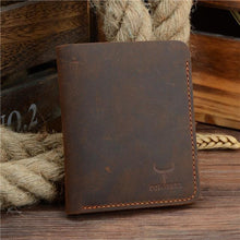 Genuine Leather Thin Wallet Coffee Vertical
