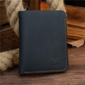 Genuine Leather Thin Wallet Black Vertical