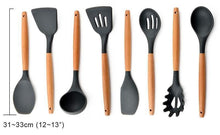 Wood Handle Silicone Kitchen Utensils Cooking Tool