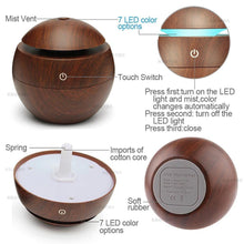 Wooden Essential Oil Diffuser - Usb Connection Light Wood
