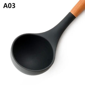 Wood Handle Silicone Kitchen Utensils A03 Cooking Tool