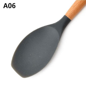 Wood Handle Silicone Kitchen Utensils A06 Cooking Tool