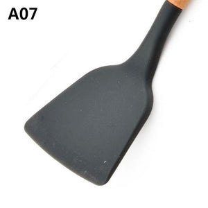 Wood Handle Silicone Kitchen Utensils A07 Cooking Tool