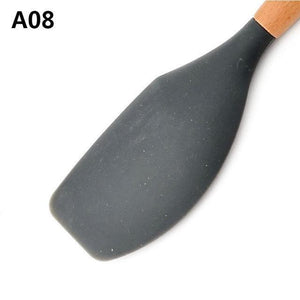 Wood Handle Silicone Kitchen Utensils A08 Cooking Tool