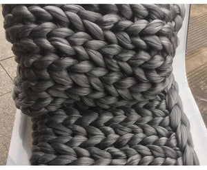 Chunky Knitted Blanket Light Grey / 130X100Cm Accessories