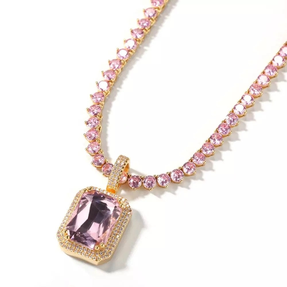 Pink Cube Gold Tennis Necklace