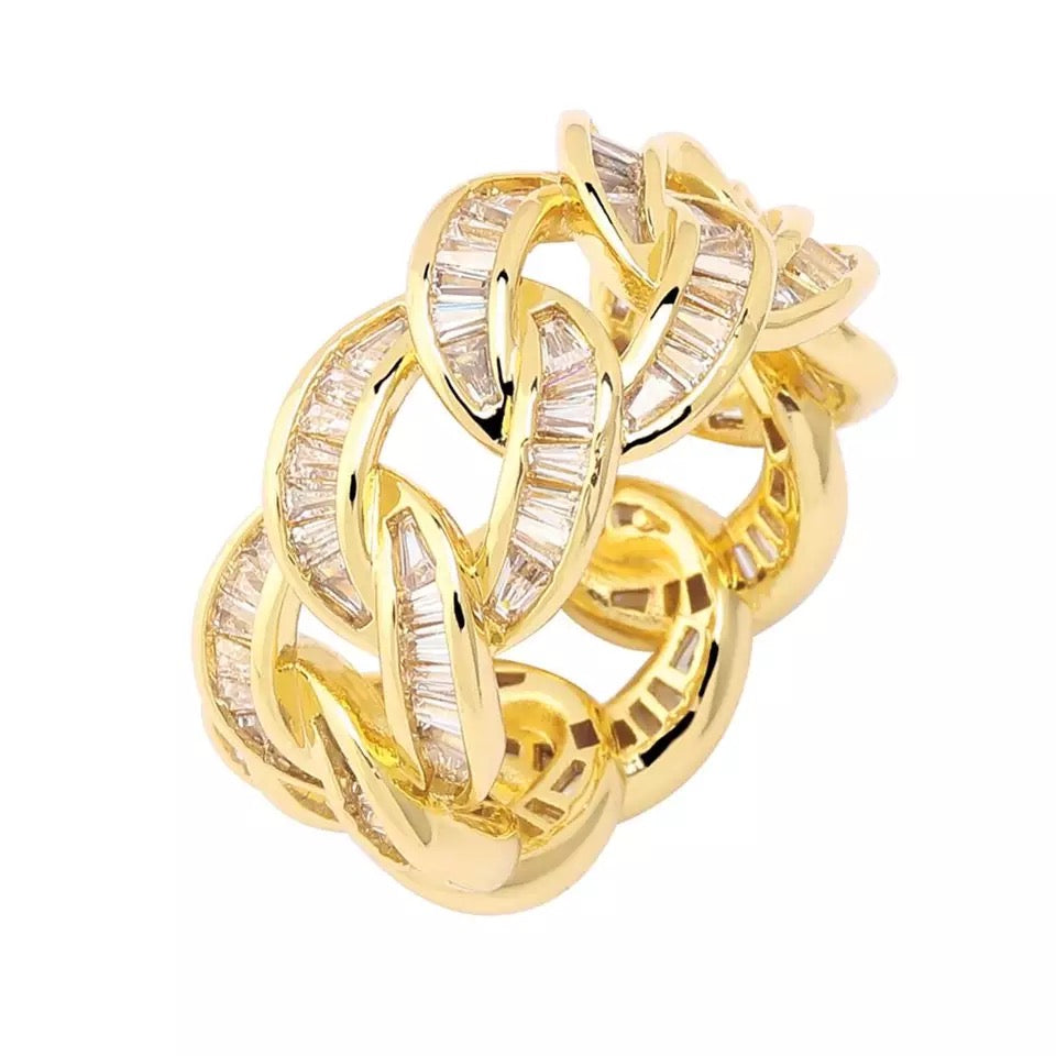Gold Diamond Baguette Cuban Ring