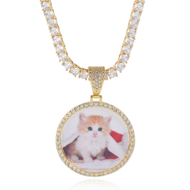 Gold Circle Diamond Encrusted Photo Locket