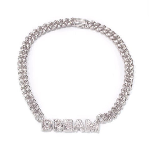 White Gold Cuban Name Necklace