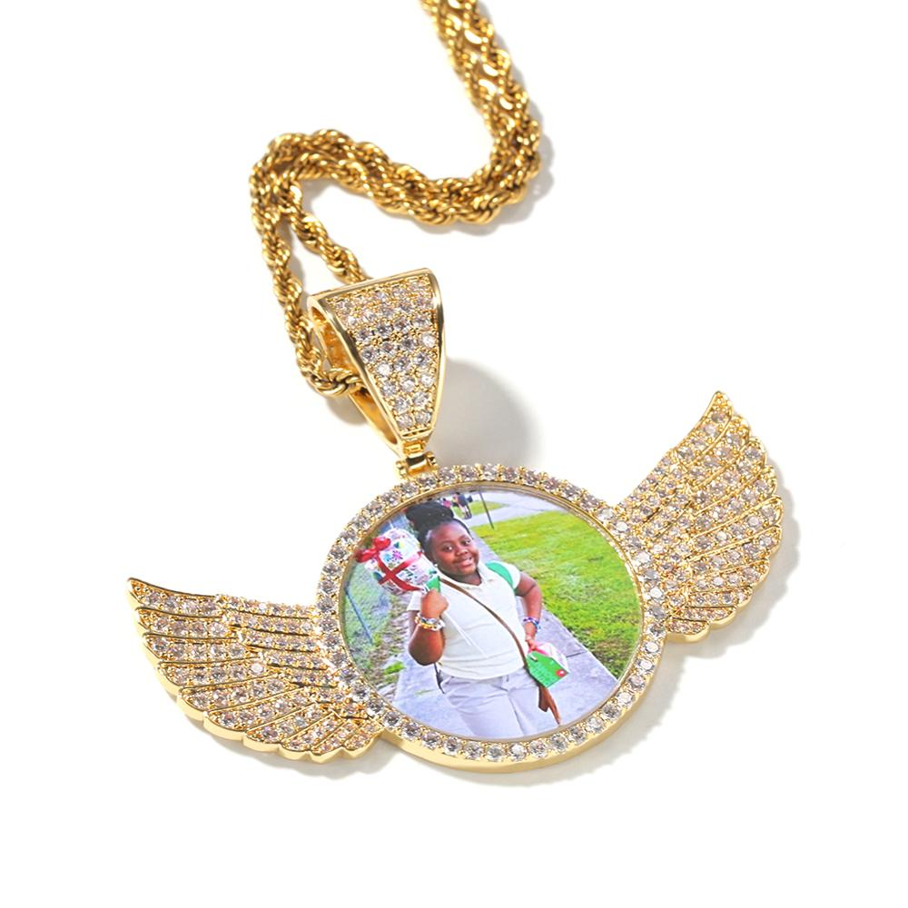 Gold Diamond Winged Photo Locket