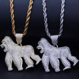 White Gold Diamond Gorilla Pendant