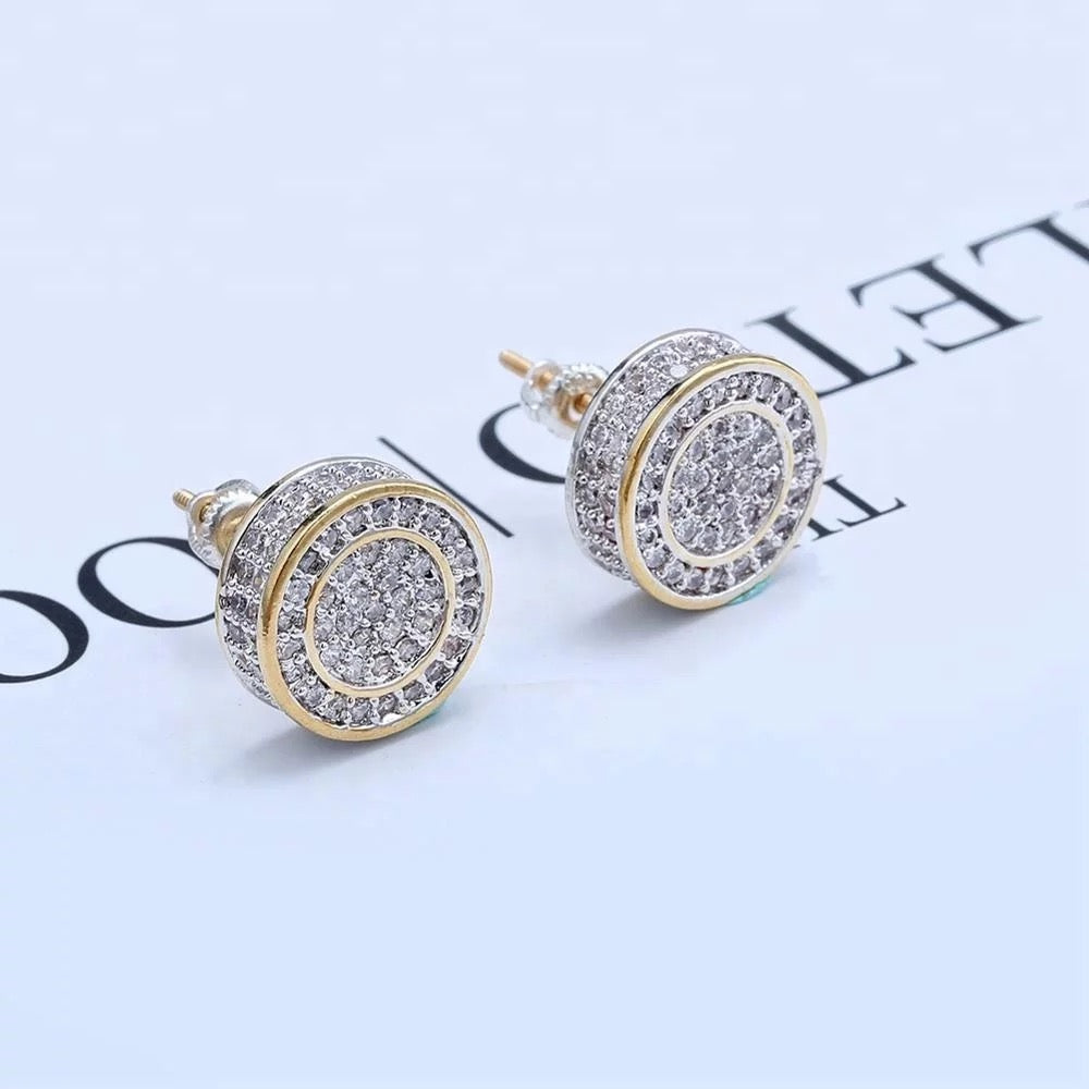 Micro Pave Diamond Round Earrings