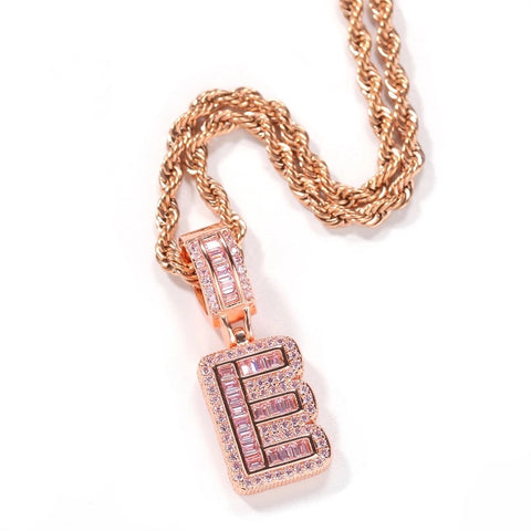 Pink Cube White Tennis Necklace