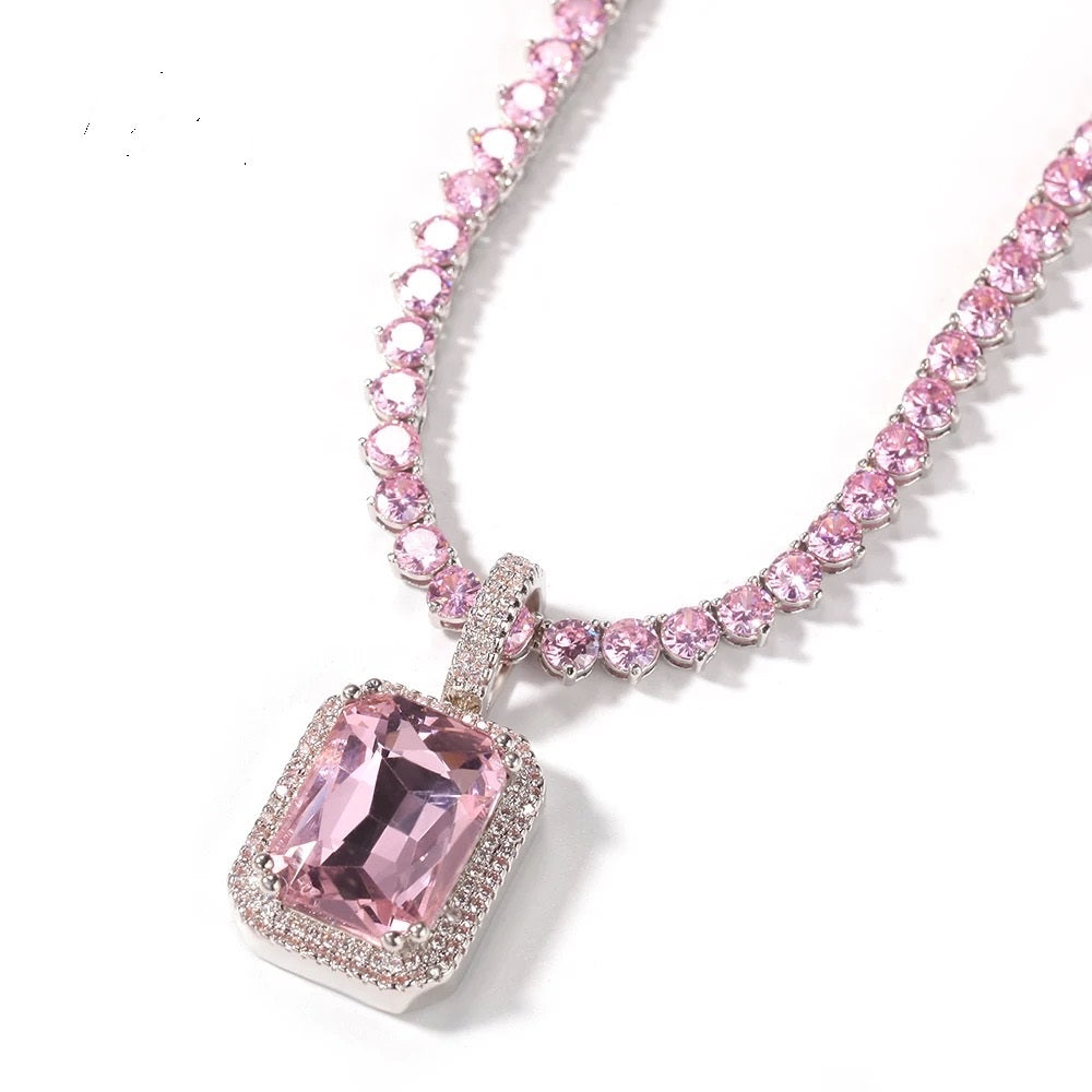 Pink Cube Pink Tennis Necklace