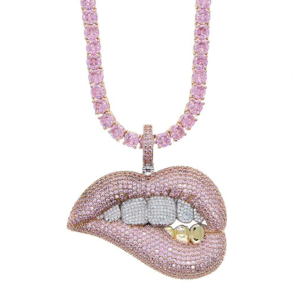 Pink Diamond Lips Grilllz Necklace
