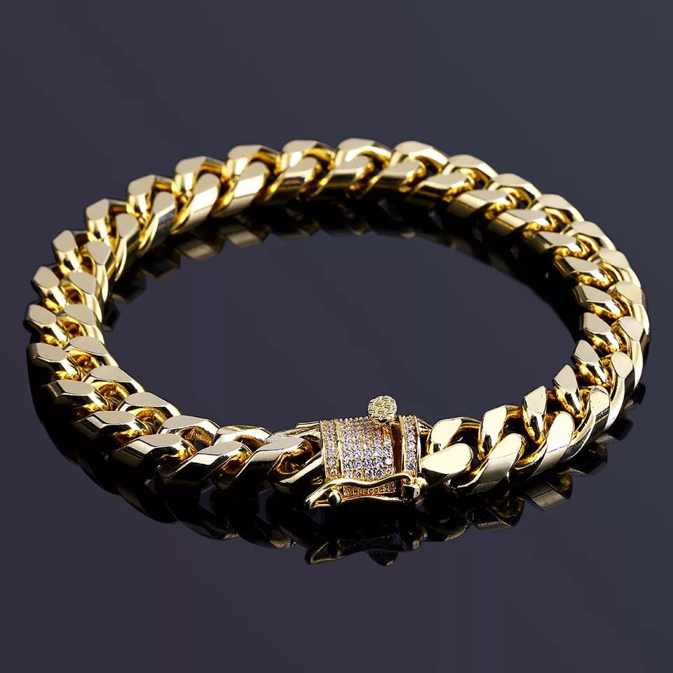 Cuban Plain Gold Bracelet with Diamond Clasp