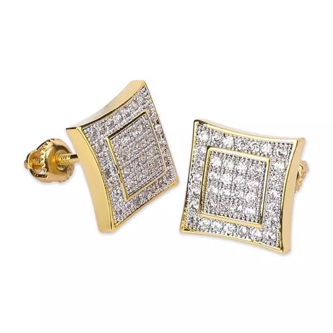 Gold Square Diamond Border Earrings