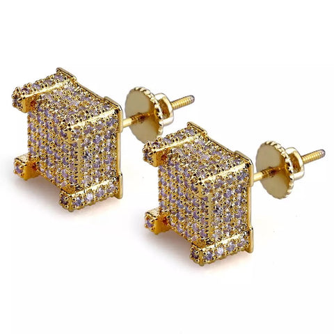 Square 3D Diamond Earrings