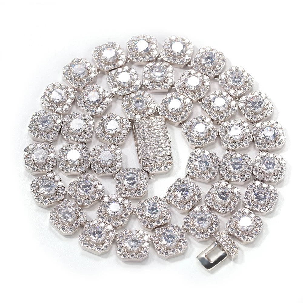 White Square Diamond Cluster Necklace