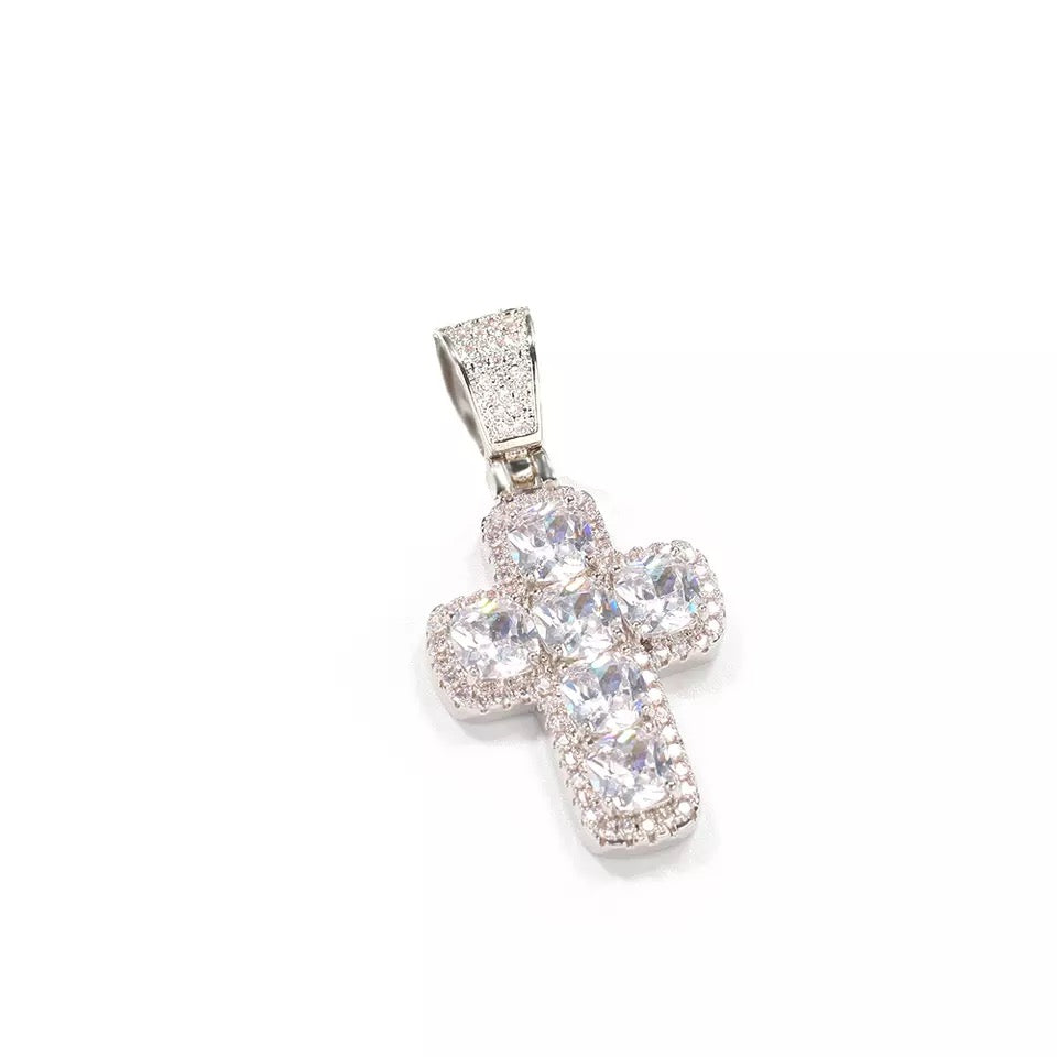 White Diamond Gold Cross Pendant