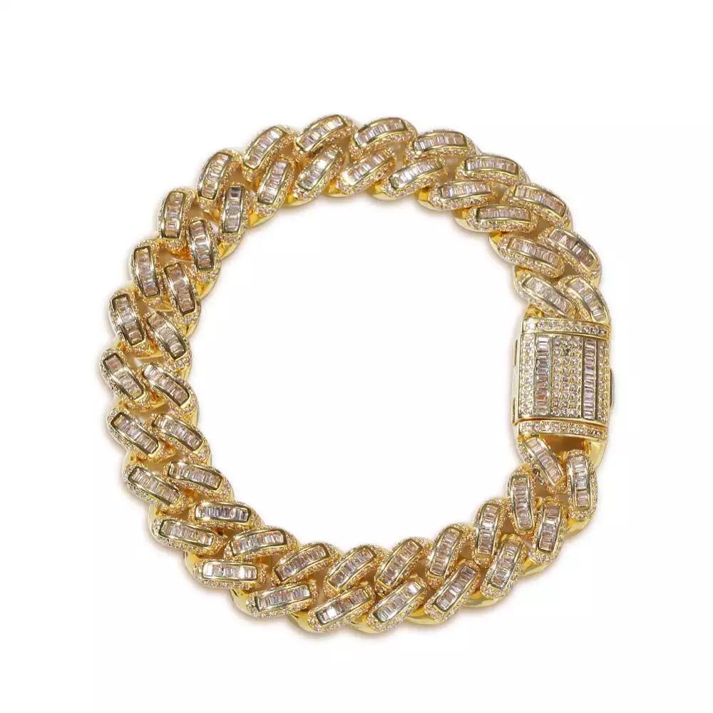 Yellow Gold Baguette Cuban Bracelet