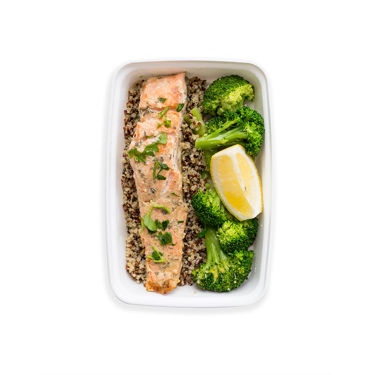Lemon & Herb Crusted Organic Trout with Broccoli and Scented Quinoa