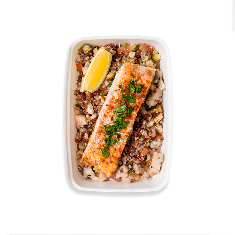 Mediterranean Salmon with Red Rice & Cauliflower Pilaf