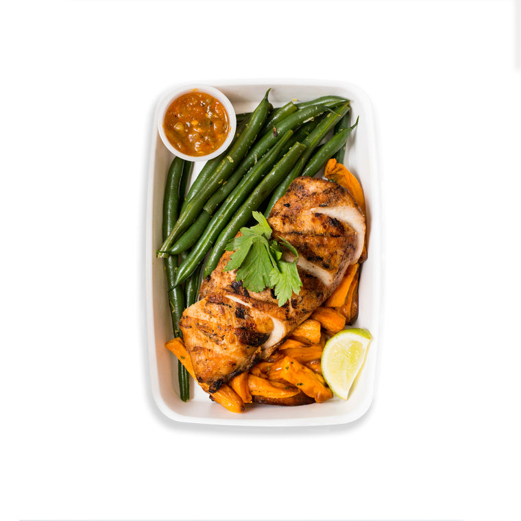 Grilled Chicken with Fire Roasted Salsa, Sweet Potato Fries and Green Beans