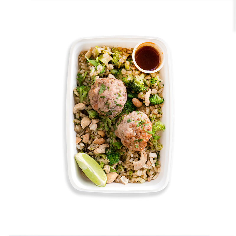 Asian Glazed Turkey Balls with Cashew Fried Rice, Broccoli and Hot Sauce *Contains Nuts