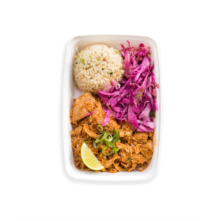 Pulled Chicken with Cilantro Lime Rice, Slaw