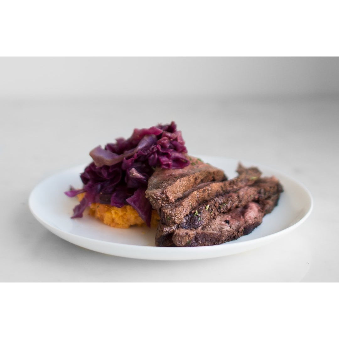Thai Style Grilled Flat Iron, Sweet and Sour Red and Green Cabbage with Coconut Chili Sweet Potato Mash